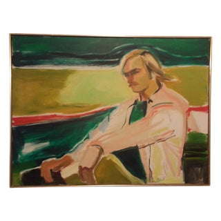 "Mid-Century Modern ""Easy Rider"" Portrait Painting"