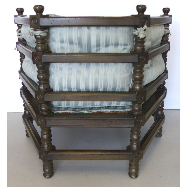 Traditional Hexagonal Club Chairs - A Pair - Image 4 of 8