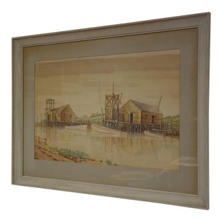 Watercolor Harbor Painting