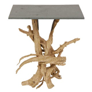 Metal Top Driftwood Side Table