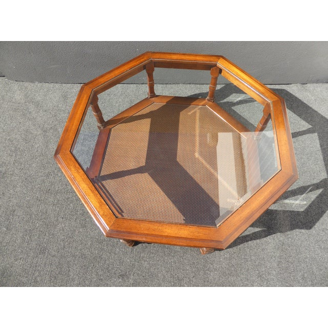 Image of Mid Century Octagon Beveled Glass Top Coffee Table