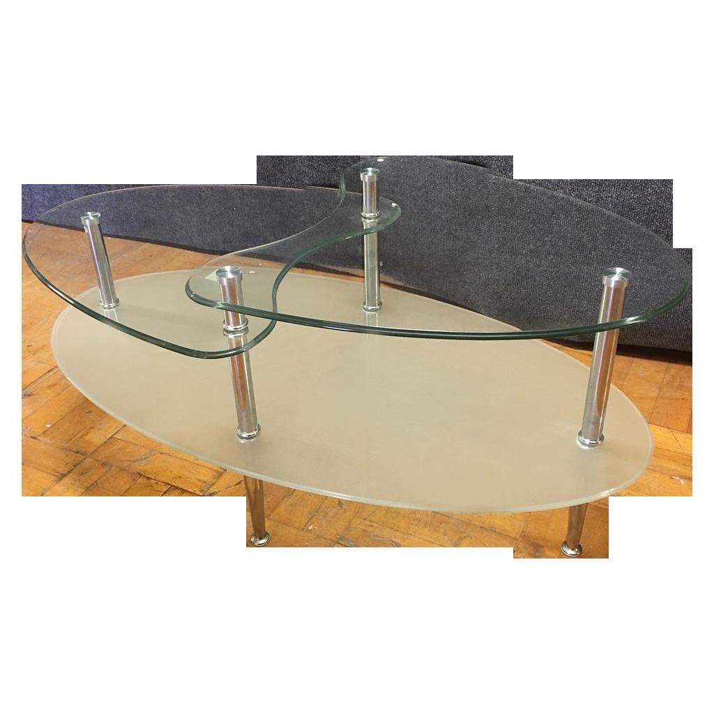 Glass Metal Oval Coffee Table Chairish