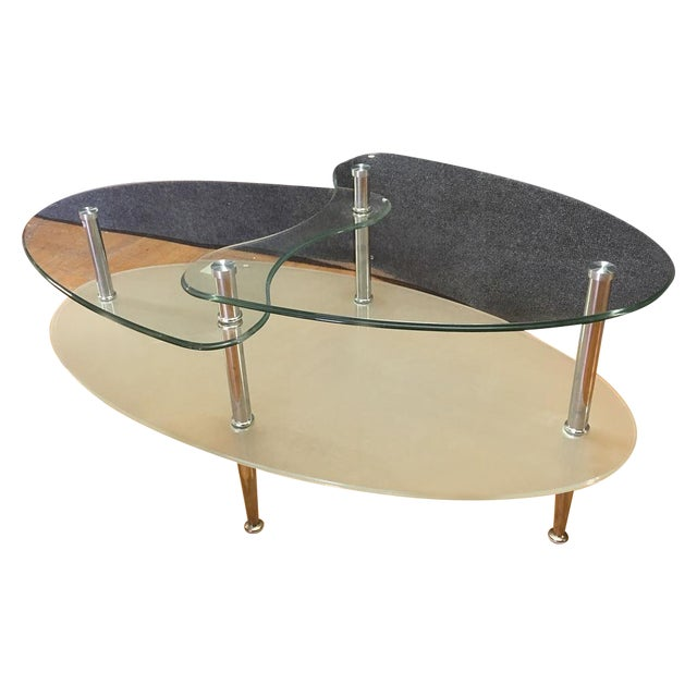 Glass Metal Oval Coffee Table Chairish