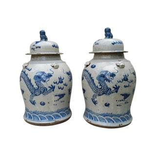 Painted Rustic Glaze Temple Urns - A Pair