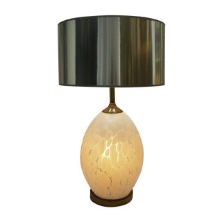 Mid-Century Modern Italian Glass White Murano Table Lamp MCM