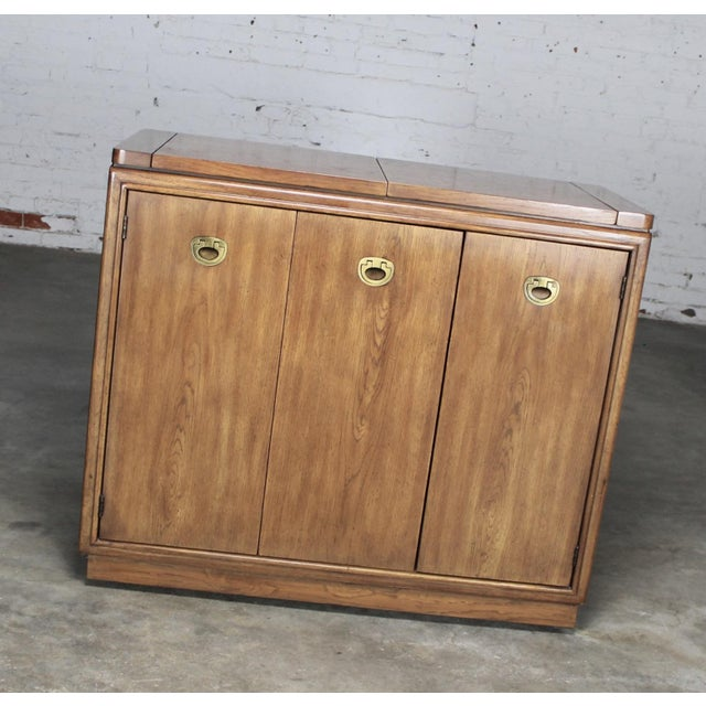 Drexel Heritage Mid-Century Campaign Style Rolling Dry Bar - Image 3 of 11