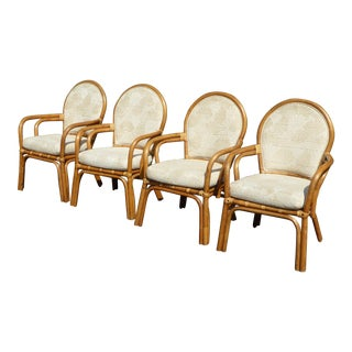 Vintage Mid-Century Modern Tiki Palm Beach White Bentwood Dining Chairs - Set of 4