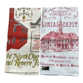 Vintage Tea Kitchen Towels Linens - A Pair