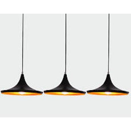 Image of Tom Dixon Black Wide Beat Lights - Set of 3