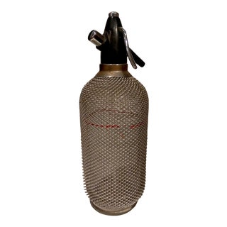 Vintage Wire Mesh & Glass Seltzer Bottle