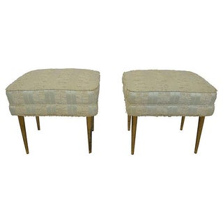 Mid-Century Pale Green & Brass Stools - A Pair