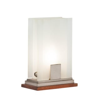 Frosted Glass Panel Desk Lamp by Boris Lacroix, French c. 1930