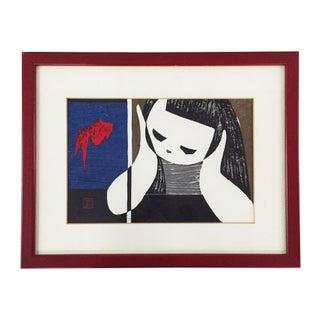Kaoru Kawano Wood Block Art Of Girl