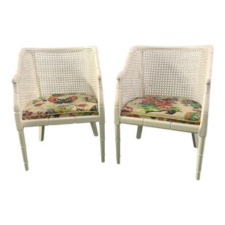 Lacquered Faux Bamboo Barrel Chairs - a Pair