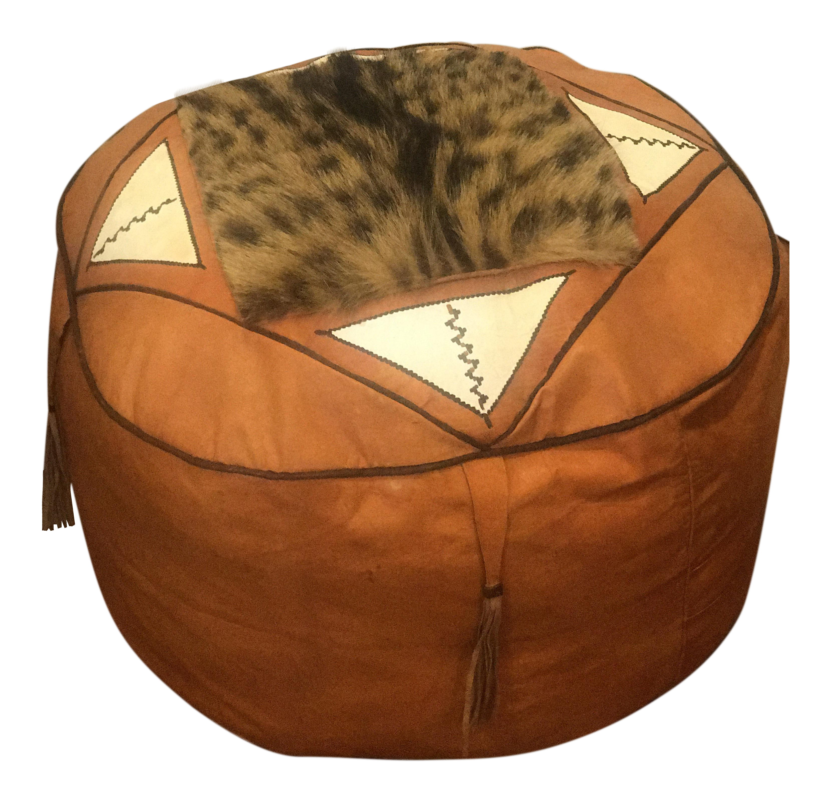 moroccan leather pouf cover - Leather Pouf