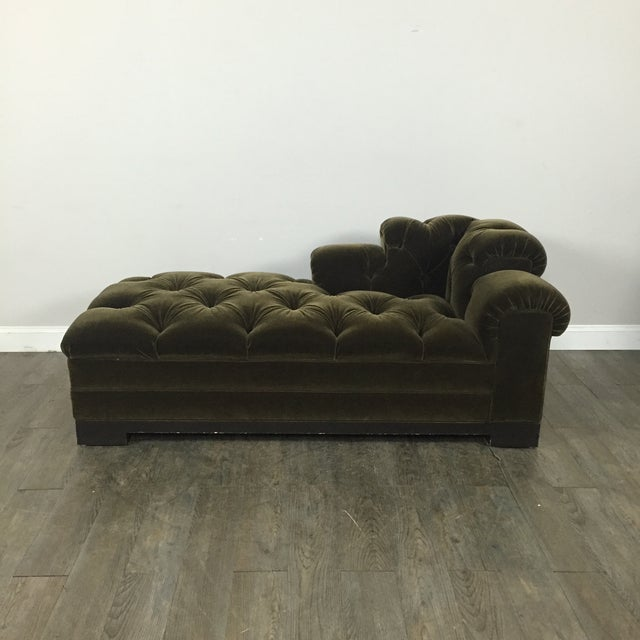 tufted mohair chaise sofa chairish. Black Bedroom Furniture Sets. Home Design Ideas