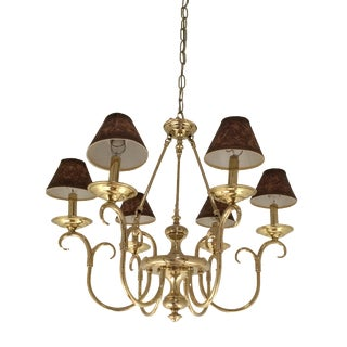 Traditional Cast Brass 6 Arm Chandelier