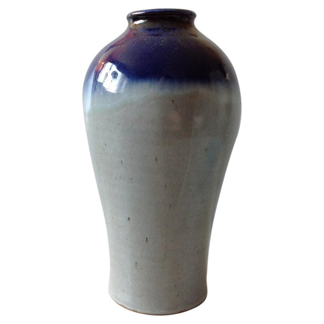Studio Pottery Grey & Cobalt Blue Vase - Image 1 of 11