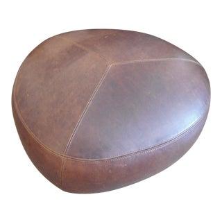 Triangular Brown Leather Ottoman