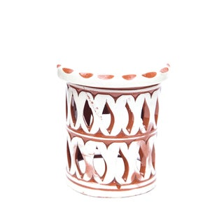 Atlas Ceramic Candle Holder - White