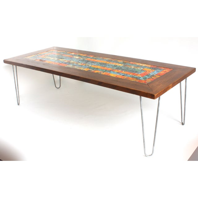 Mosaic Walnut Hairpin Leg Coffee Table Chairish