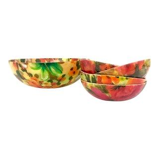 Vintage Floral Salad Bowl - Set of 6