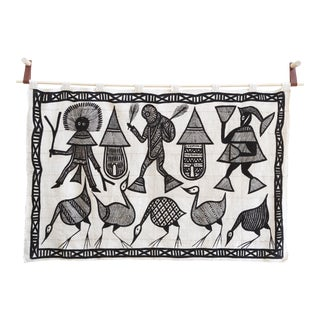 Hand Painted African Mud Cloth Art
