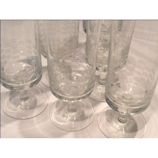 MCM Geometric Etched Champagne Flute Set - 6 - Image 6 of 8