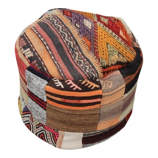 Vintage Turkish Kilim Patchwork Ottoman