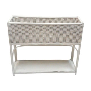 White Wicker Rectangular Planter Stand