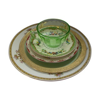 Vintage Mismatched Dinner Setting - 5 Pieces