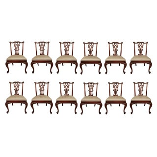 Chippendale Mahogany Dining Chairs - Set of 12