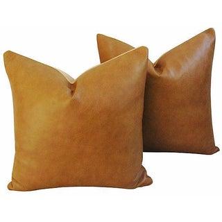 Custom Italian Golden Tan Leather Pillows - A Pair