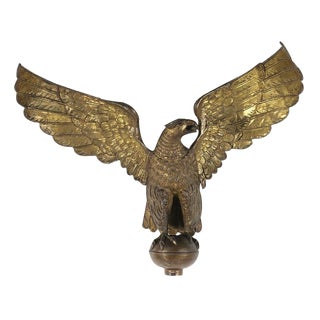 """LARGE AND IMPRESSIVE MOLDED COPPER EAGLE, AN EARLY PARADE TORCH & MILITARY HALL DECORATION, MADE IN NEW YORK, SIGNED """"H. FACHS"""", PATENTED 1891"""
