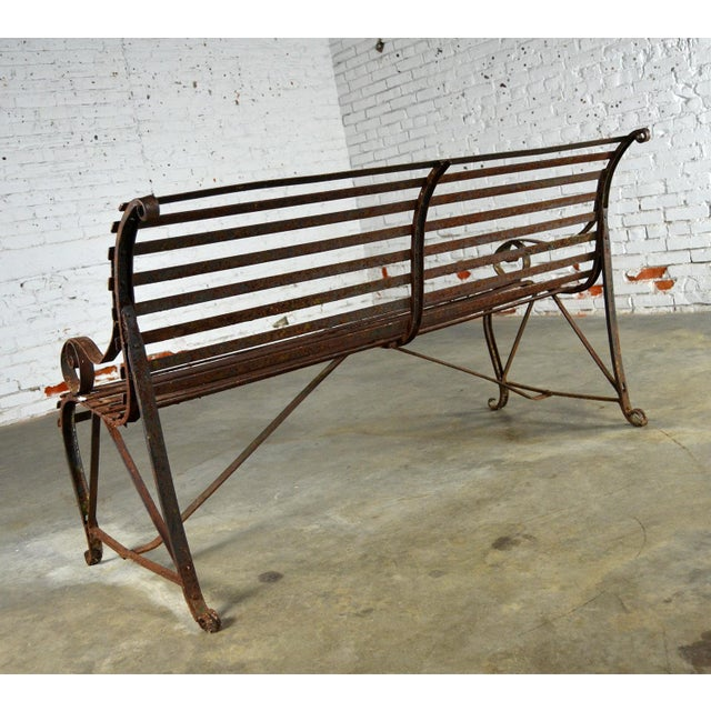 Antique 19th Century Forged Strap Iron Garden Bench - Image 5 of 10