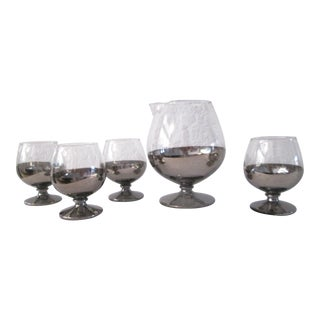Silver Decanter & Snifter Glasses - Set of 5