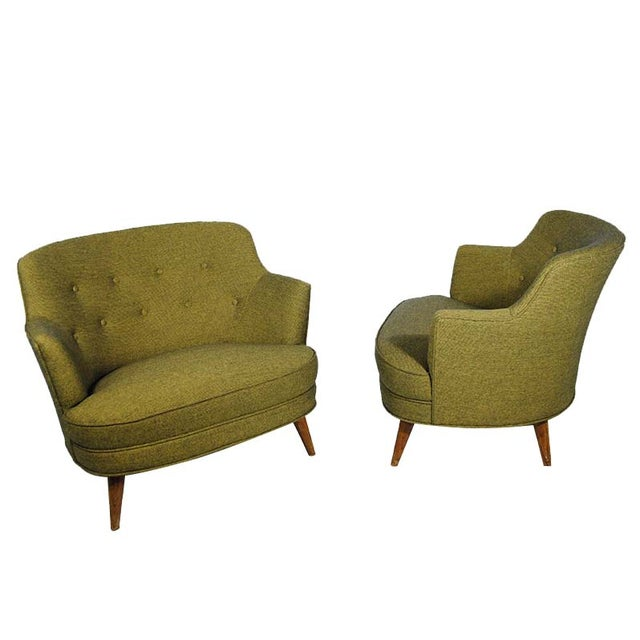 Mid-Century Extra Wide Occasional Green Chairs - Image 1 of 5