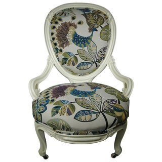 Antique Slipper Chair with Peacock Upholstery