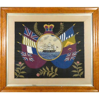 British Sailor's Woolwork Pictures or Woolies with Ship and Flags