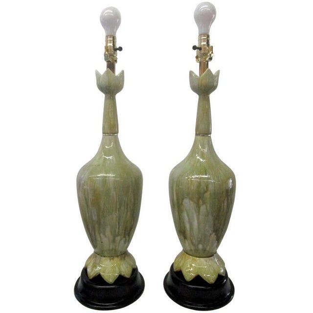 Green Ceramic Lamps With Flower Motif - Pair - Image 2 of 10