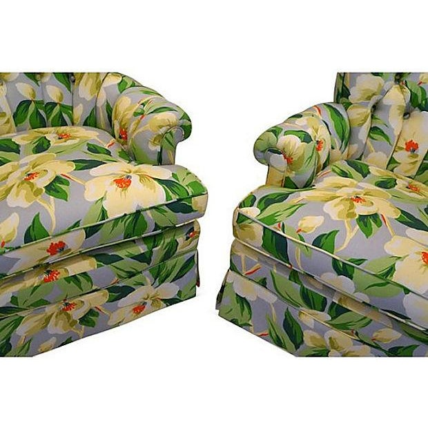 Vintage 1940s Magnolia Print Armchairs - A Pair - Image 5 of 5