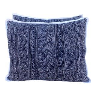 Pair of Blue & White Batik Pillows