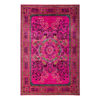 "Suzani, Hand Knotted Pink Wool Area Rug - 5' 10"" X 8' 10"""