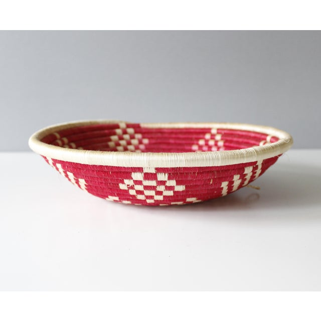 Vintage Geometric Woven Basket Tray Wall Hanging Round Tribal - Image 4 of 4