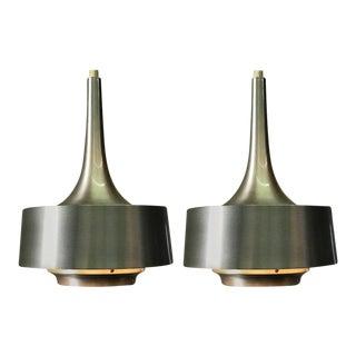 Jo Hammerborg for Fog & Mørup Mid-Century Nova Aluminum Pendants - A Pair