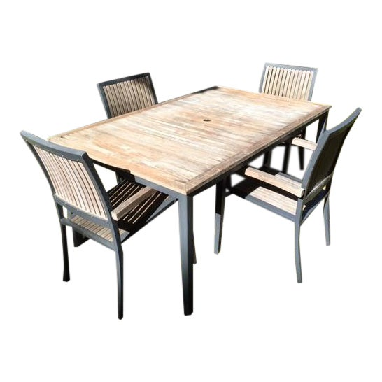 Danish Outdoor Teak Dining Set - S/5 - Image 1 of 9