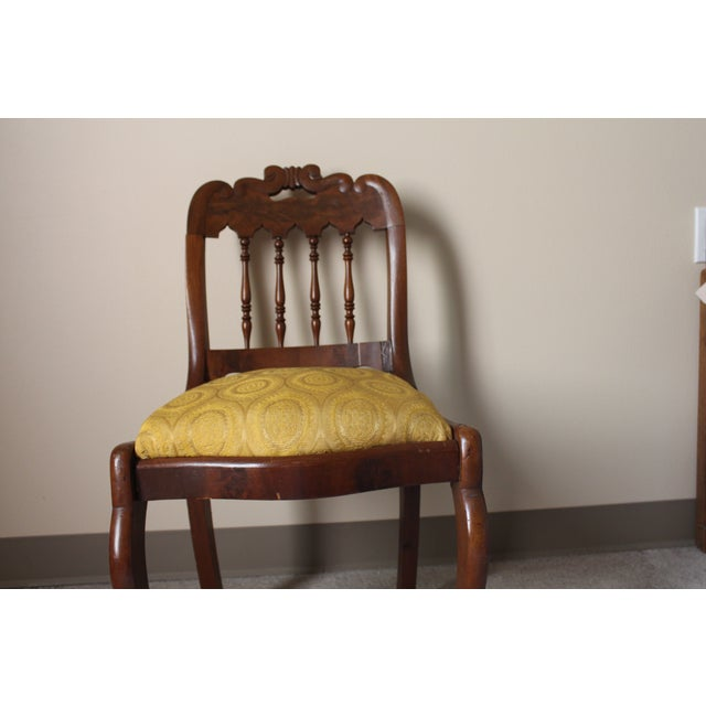 Wood & Yellow Seat Louis XV Style Side Chair - Image 5 of 7