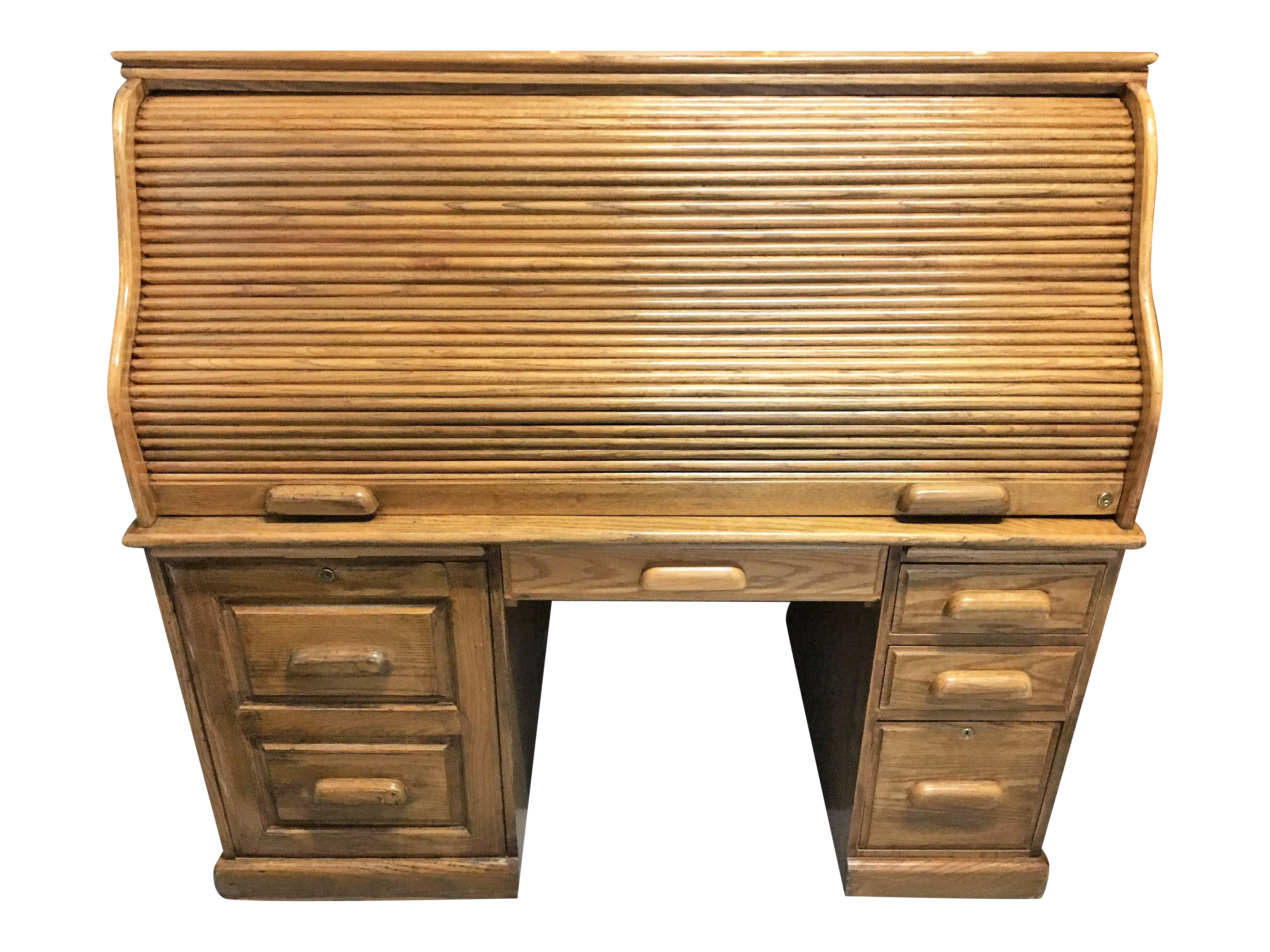 Large Solid Oak Roll Top Desk Chairish