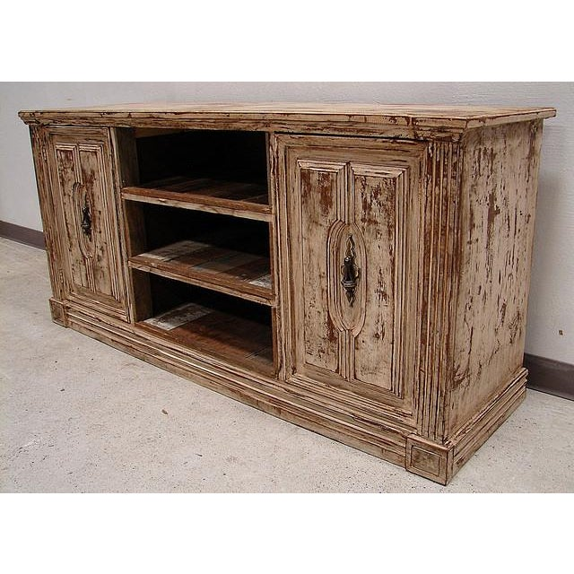 Vintage primitive barnwood media console cabinet chairish for Barnwood media cabinet