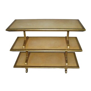 Wooden Three Tier Rolling Shelf